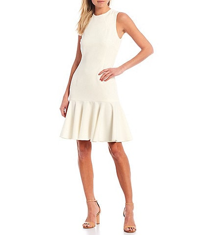 Antonio Melani Nasri Sleeveless Flounce Jewel Neck Sheath Dress