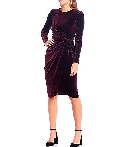 Antonio Melani Natalie Velvet Long Sleeve Sheath Dress