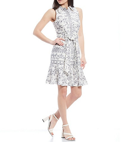 Antonio Melani Nate Floral Border Print Point Collar Sleeveless Button Front Fit & Flare Sash Belted Dress