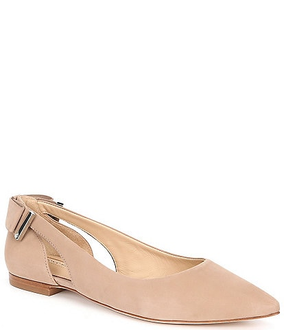 Antonio Melani Nelle Suede Bow Detail & Cut-Out Leather Flats
