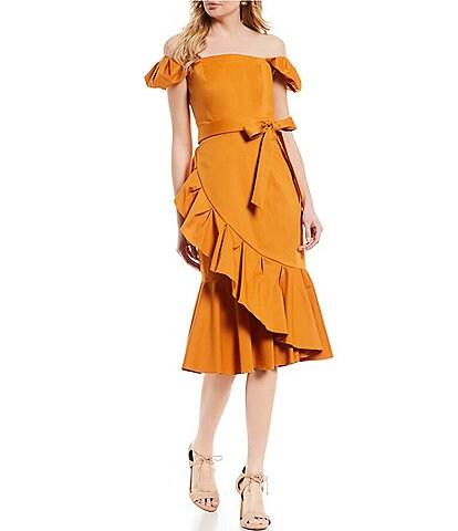Antonio Melani Off The Shoulder Asymmetrical Peplum Hem Lara Dress