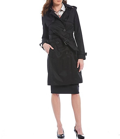 Antonio Melani Olivia Water Resistant Cotton Blend Double Breasted Detachable Hood Trench Coat