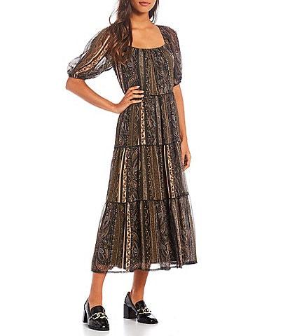 Antonio Melani Paisley Print Round Neck Short Sleeve A-Line Aida Midi Dress