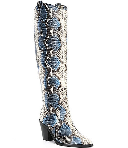 Antonio Melani Peigi Snake Printed Leather Tall Western Boots