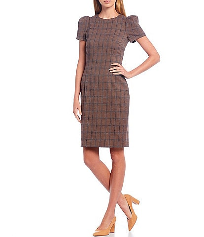 Antonio Melani Piper Windowpane Plaid Stretch Woven Suiting Round Neck Puff Sleeve Sheath Dress