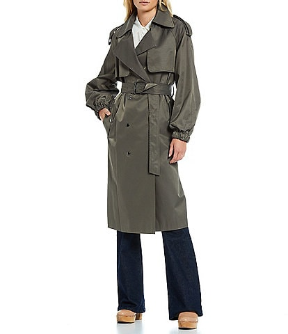 Antonio Melani Quincey Long Sleeve Lined Satin Twill Trench Coat