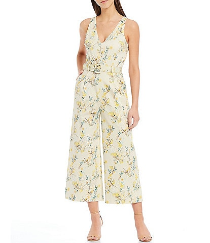 Antonio Melani Reade Floral Print Stretch Cotton V-Neck Sleeveless Belted Cropped Jumpsuit