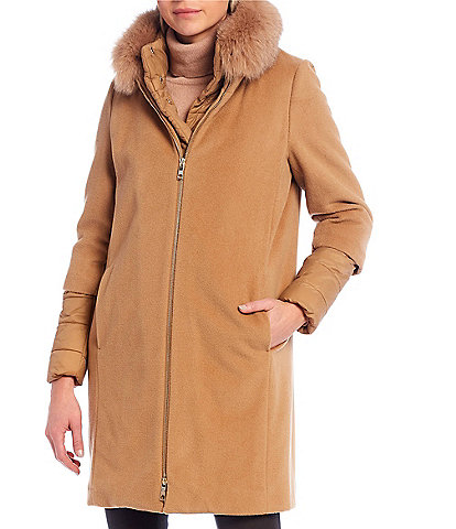 Antonio Melani Rebecca Wool Coat With Detachable Real Fox Fur Collar and Quilted Bib