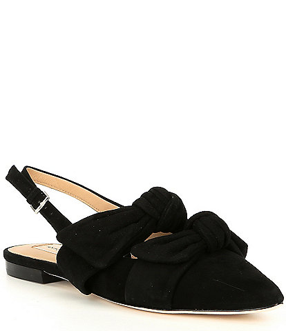 Antonio Melani Remalyn Double Bow Suede Slingback Flats