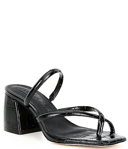 Antonio Melani Rexxza Croco Printed Leather Dress Mules