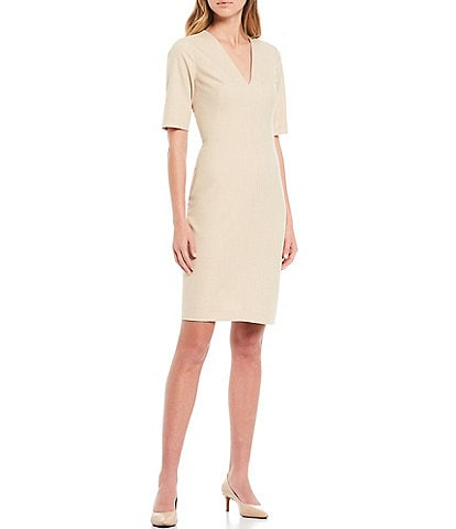Antonio Melani Rooney Slub V-Neck Quarter Sleeve Dress
