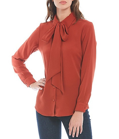 Antonio Melani Ruby Long Sleeve Button Down Collar Detachable Bow Blouse