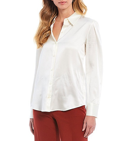 Antonio Melani Sammy Long Sleeve Stretch Silk Charmeuse Blouse
