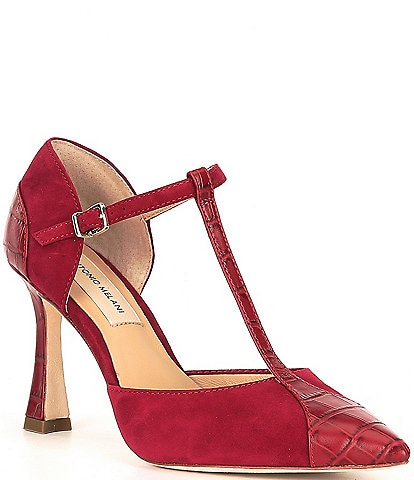 Antonio Melani Sariano Suede and Croc Embossed Leather T-Strap Pumps