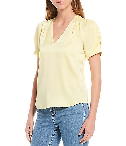 Antonio Melani Savannah Sandwashed Stretch Silk-Blend V-Neck Short Sleeve Blouse