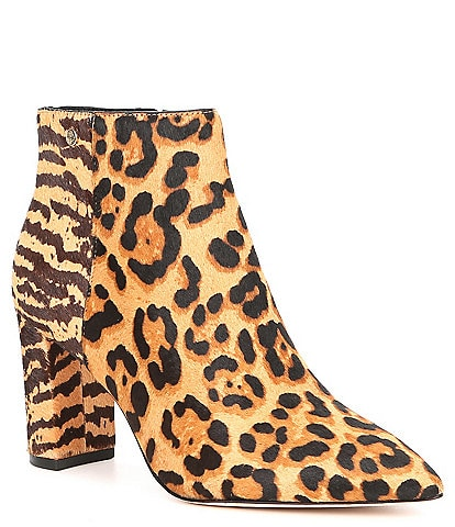 Antonio Melani Shahn Animal Print Calf Hair Pointy Toe Block Heel Booties