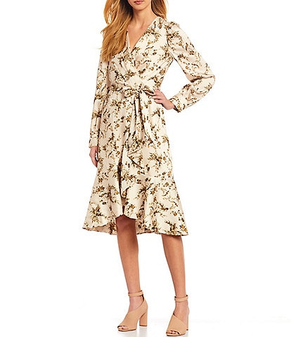 Antonio Melani Shira Floral Printed Drapey Twill A-Line Dress