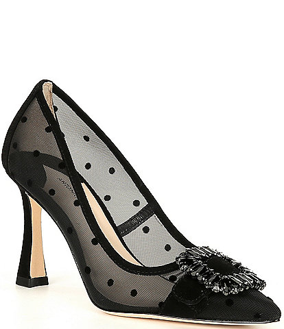 Antonio Melani Siendra Two Dot Mesh Fabric Rhinestone Ornament Detail Pumps