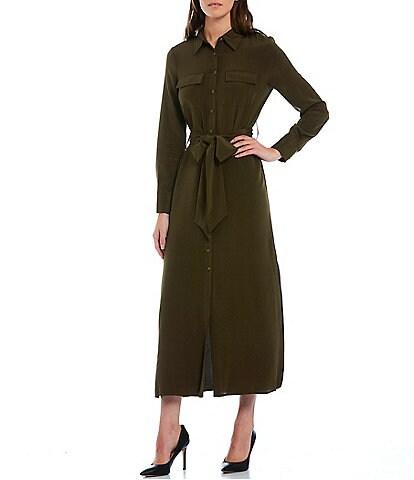 Antonio Melani Wren Silk Blend Long Sleeve Button Down Collar Belted Shirt Dress