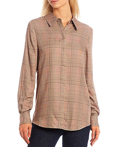Antonio Melani Skylar Plaid Button Down Collar Long Sleeve Shirt