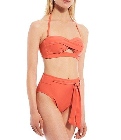 Antonio Melani Solid Keyhole Twist Bandeau Swim Top & Solid Belted High Waist Swim Bottom
