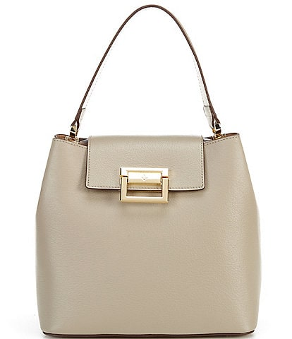 Antonio Melani Tab Leather Snap Closure Satchel Bag