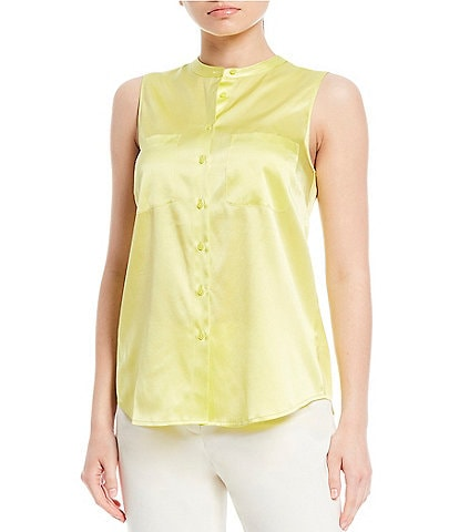 Antonio Melani Tally Stretch Silk-Blend Charmeuse Sleeveless Blouse