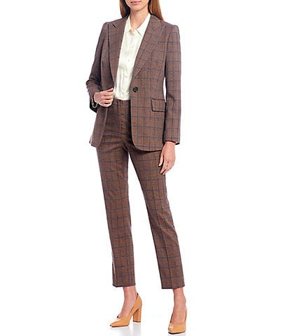 Antonio Melani Temmy Plaid One-Button Peak Lapel Jacket & Theo Stretch Woven Suiting Straight Leg Ankle Pants