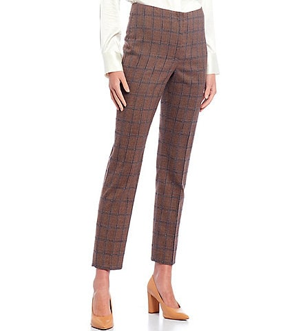 Antonio Melani Theo Windowpane Plaid Stretch Woven Suiting Straight Leg Ankle Pants