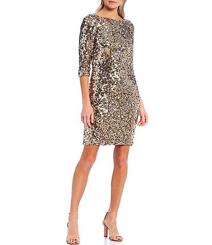 Antonio Melani Tsanna Boat Neck 3/4 Sleeve Sequin Sheath Dress