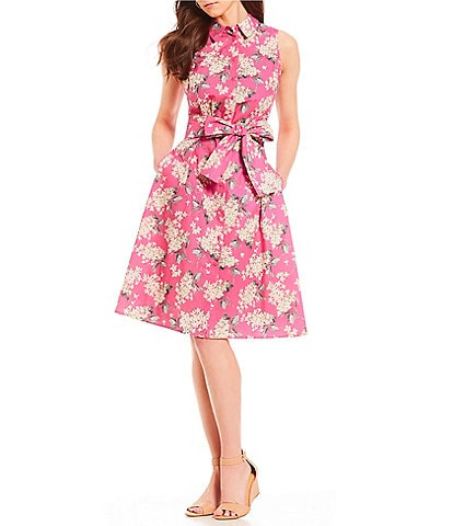 Antonio Melani Vera Lilac Floral Print Tie Waist Bow Dress Made With Liberty Fabrics