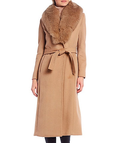 Antonio Melani Victoria Detachable Real Fox Fur Collar Tie-Waist Wrap Coat