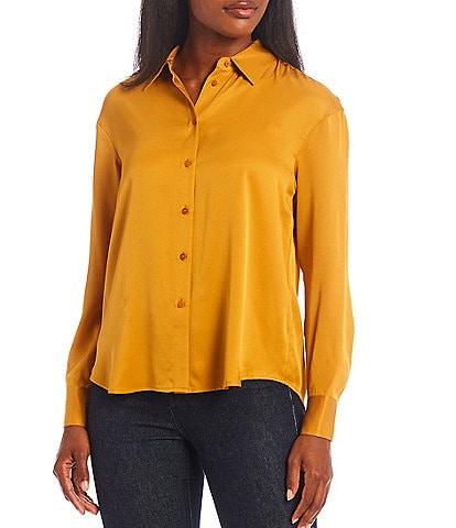 Antonio Melani Vienna Silk Button-Down Collar Neck Long Sleeve Blouse