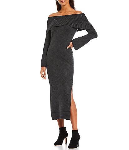 Antonio Melani Wenonah Off-the-Shoulder Long Sleeve Sheath Sweater Dress
