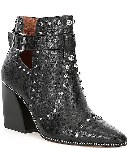 Antonio Melani Westley Studded Detail Leather Block Heel Western Booties