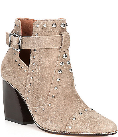 Antonio Melani Westley Suede Studded Detail Block Heel Western Booties