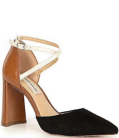 Antonio Melani Whittley Suede Leather Cross Ankle Strap Pumps
