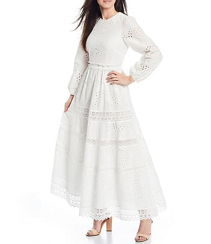 Antonio Melani x Born on Fifth Adenorah Long Sleeve Eyelet Maxi Dress