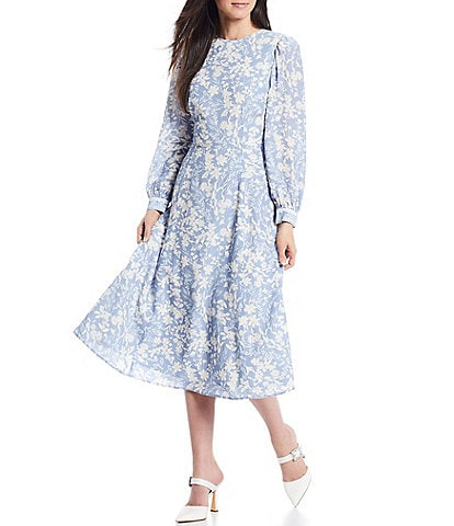 Antonio Melani x Born on Fifth Alizee Long Sleeve Floral Print Cut-Out Back Midi Dress