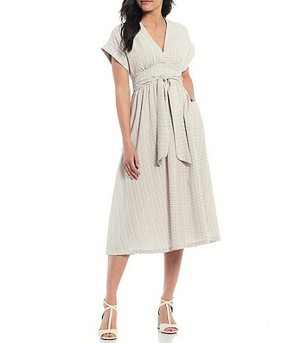 Antonio Melani x Kimberly Whitman Elliana V-Neck Short Sleeve Striped Midi Dress