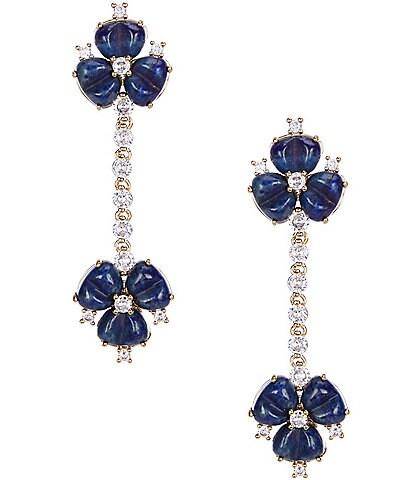Antonio Melani x Nicola Bathie Allegra Genuine Stone Flower CZ Linear Statement Earrings