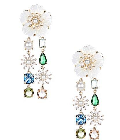 Antonio Melani x Nicola Bathie Tatum Carved Shell Flower Multi Stone CZ Linear Earrings