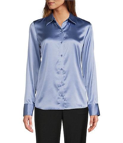 Antonio Melani Yana Button Front Point Collar Neck Long Sleeve Stretch Silk Charmeuse Blouse