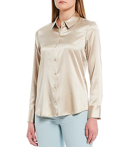 Antonio Melani Yana Button Front Collared Stretch Silk Charmeuse Blouse