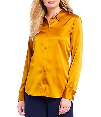 Antonio Melani Yana Stretch Silk Blend Button Front Blouse