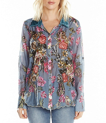 Aratta Countess Margarett Floral Embroidered Scallop Hem Velvet Collar Shirt