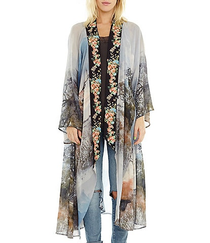 Aratta Enchanted Forest Deer Print Long Kimono
