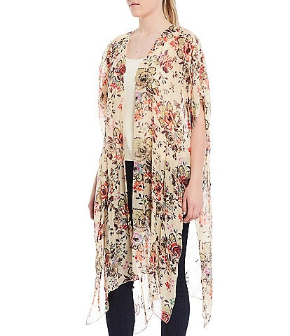 Aratta Eternal Love Hand Embellishment Floral Print Short Sleeve Long Kimono