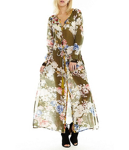 Aratta Field Of Dreams Convertible Sheer Floral Print Maxi Dress