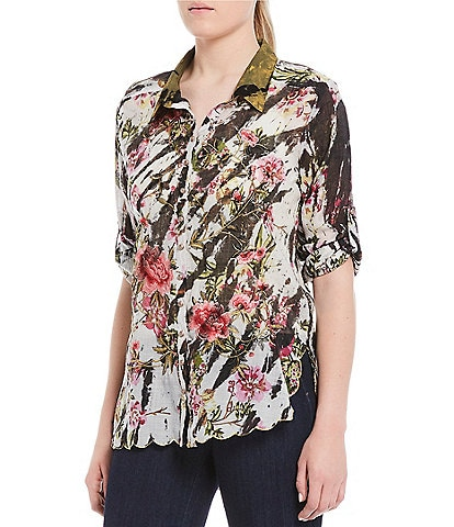 Aratta Meant To Keep Zebra Print Floral Long Roll-Tab Sleeve Button Front Embroidered Top